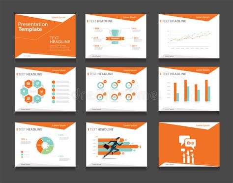 Orange Infographic Business Presentation Template Set Powerpoint Template Design Backgrounds Set Powerpoint Template