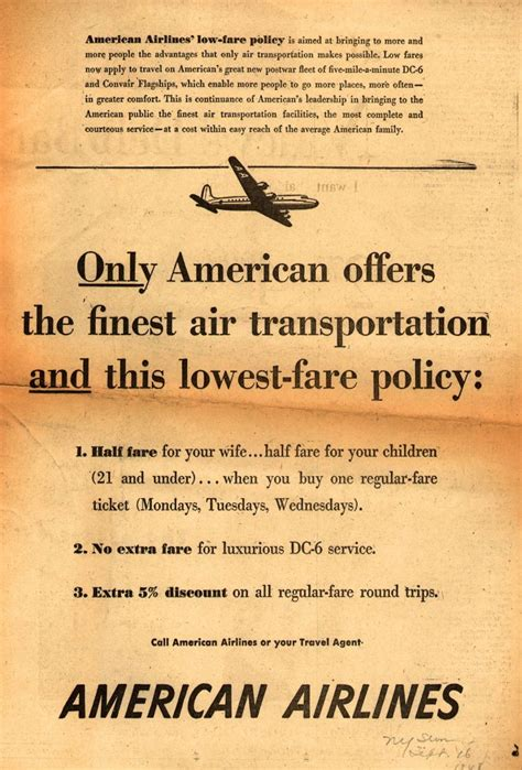american airlines policy vintage airlines and aircraft ads of the 1940s page 45