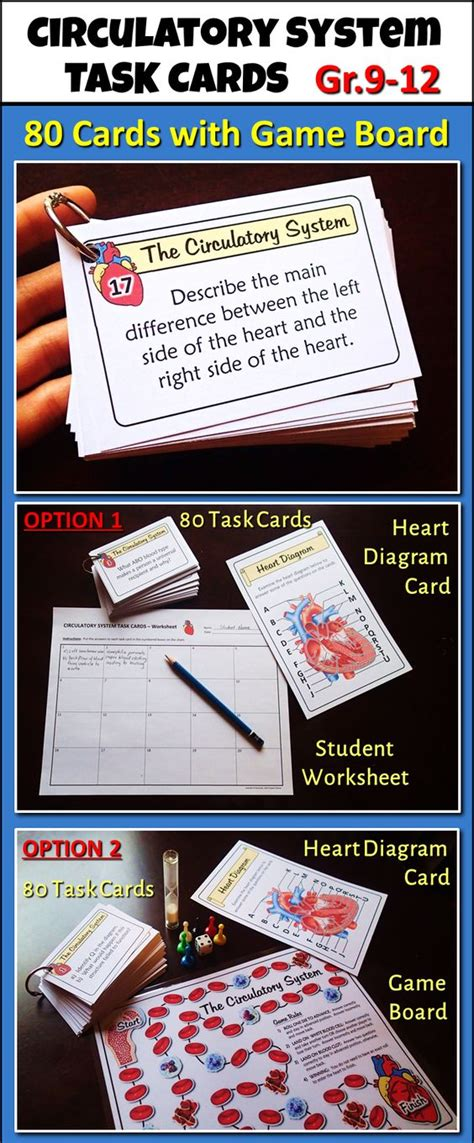 science task card template circulatory system task cards with board editable