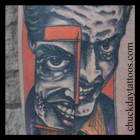 joker tattoo with buildings healed joker by chuck day tattoonow