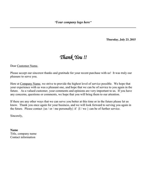 Customer Service Thank You Letter Customer Thank You Letter In Word And Pdf Formats