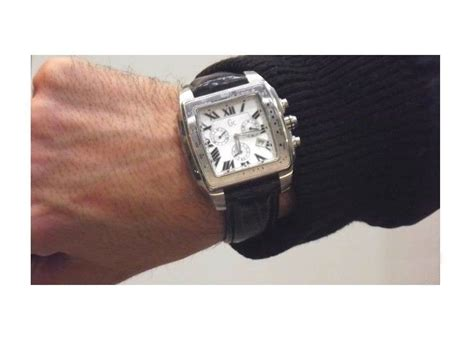 Guess Gc Chronoraph 6290 Leather guess gc s square chronograph steel black leather silver 30007ga wristwatches