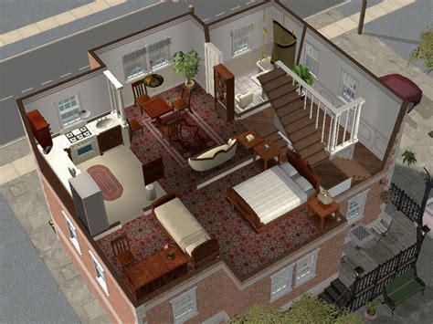 Small House Floor Plans With Basement mod the sims backdoor lane 64 small apartment house
