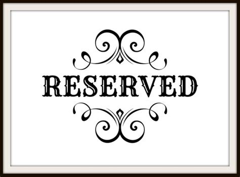 free printable reserved table signs reserved sign template pictures to pin on