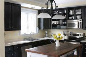 Black Painted Kitchen Cabinets by Remodelaholic Dark Kitchen Cabinet Inspiration And
