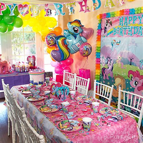 pony parties make a great birthday treat for kids my little pony party table idea party city