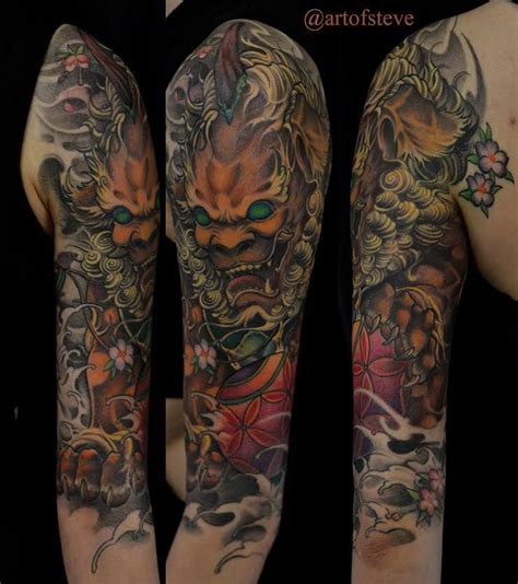 chronic ink tattoo toronto tattoo dragon half sleeve to chronic ink tattoo toronto tattoo foo dog half sleeve