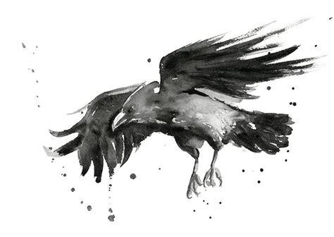 Owl Print Duvet Cover Flying Raven Watercolor Painting By Olga Shvartsur