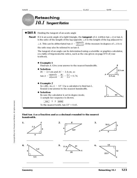 Cos Worksheet With Answers by Tangent Ratio Worksheet Worksheets Releaseboard Free