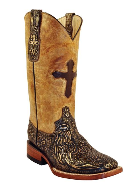ferrini western cowboy boots womens embossed cross gold