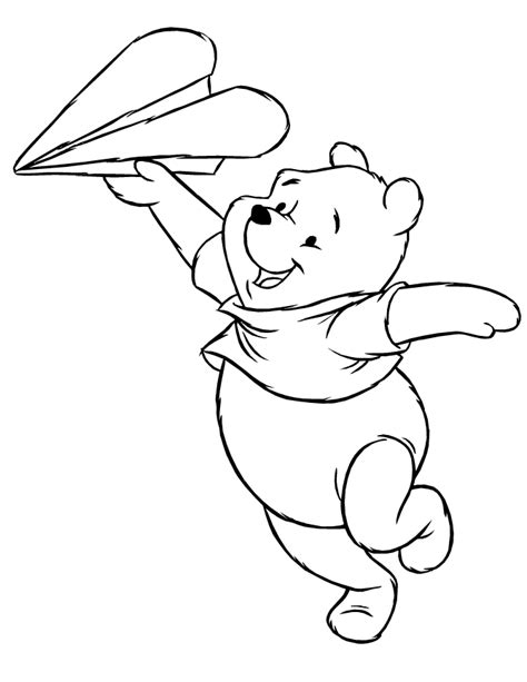 coloring pages of paper airplanes winnie the pooh playing with paper airplane coloring page