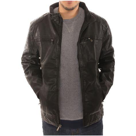 Jaket Bomber Pocket Zipper Bgsr s motorcycle bomber faux leather jacket fleece lined with zippered pockets ebay