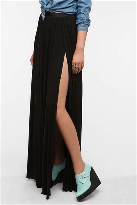 outfitters ecote slit maxi skirt in black lyst