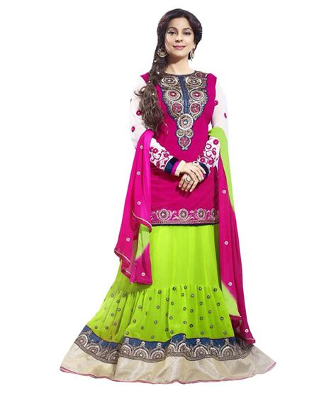 Ethnic Dress Y 1771 khantil pink and parrot lehenga anarkali dress material