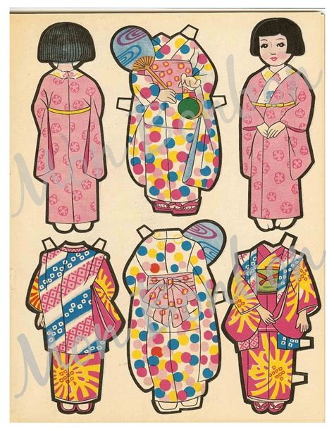 printable japanese paper dolls vintage japanese paper doll printables paper ideas
