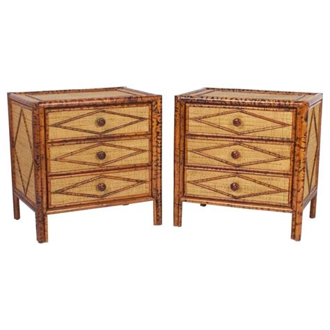 Bamboo Nightstand Pair Of Three Drawer Faux Bamboo Nightstands At 1stdibs