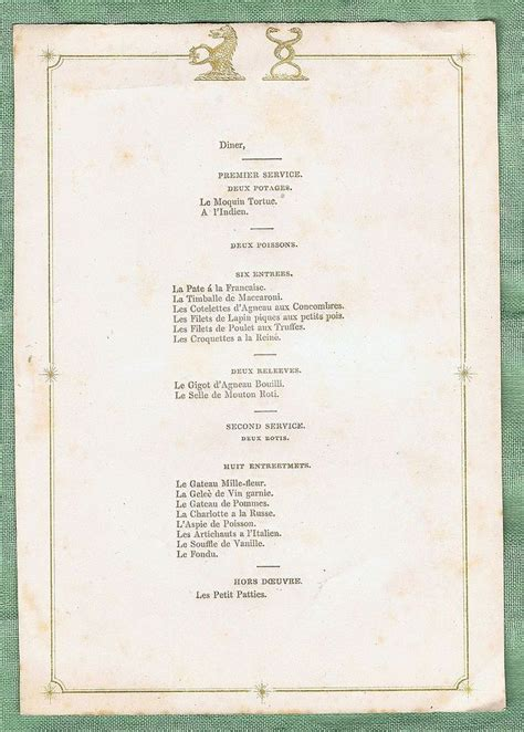 the beet table menu menu card with crests of t c bisse challoner mid 19th