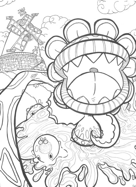 mario sunshine coloring pages down with petey piranha mario sunshine commission by