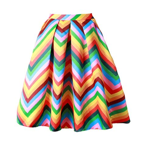 Rok Stripes Pelangi Rainbow Maxi Skirt 2016 new summer rainbow skirt womens gorgeous pleated stripe puff skirt saia large