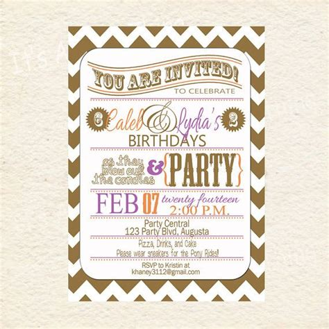 printable joint birthday party invitations boy and girl purple and orange joint party printable