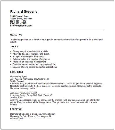 Purchasing agent Resume Example   Free templates collection