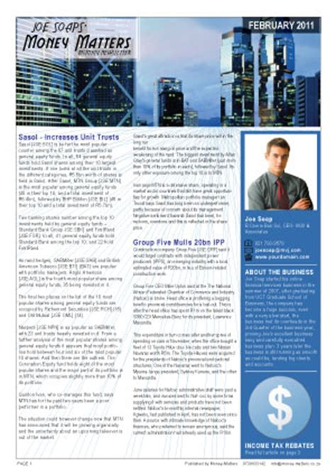 Financial Newsletter Money Matters Monthly Financial Newsletter