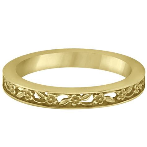 Carved Flower Rings 2 by Flower Carved Wedding Ring Filigree Stackable Band 14k