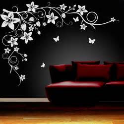 Wall Art Decal Stickers Butterfly Vine Flower Wall Art Stickers Vinyl Decals