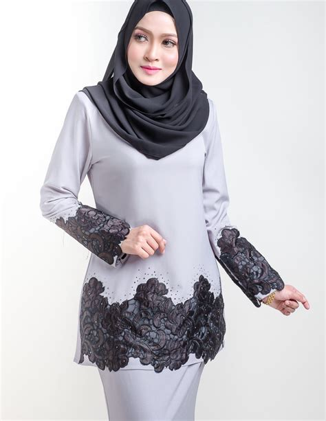 Baju Melayu Moden Kasturi baju kurung moden organza grey