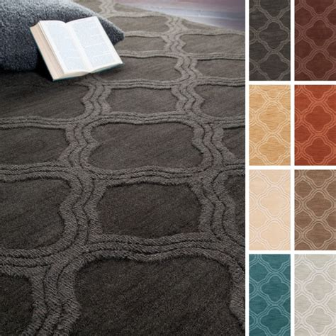 Wool Area Rugs 5 X 8 Loomed Canton Casual Solid Tone On Tone Moroccan Trellis Wool Area Rug 5 X 8 Free