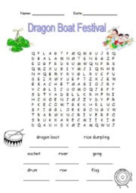 small round boat crossword english worksheet dragon boat festival word search