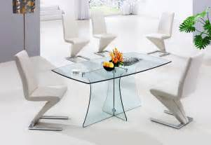 small modern glass dining table with lucite bases and s