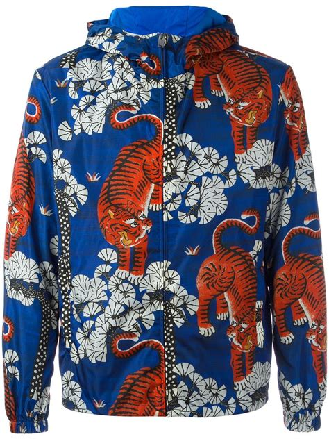 gucci bengal tiger print jacket in blue for lyst