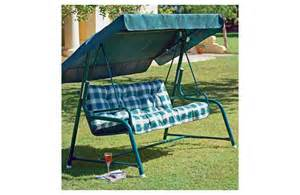 argos swing chair tubular 3 seater garden swing chair with cushion green
