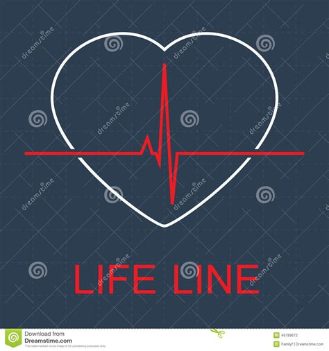 eps format line vector life line and pulse in heart stock vector image