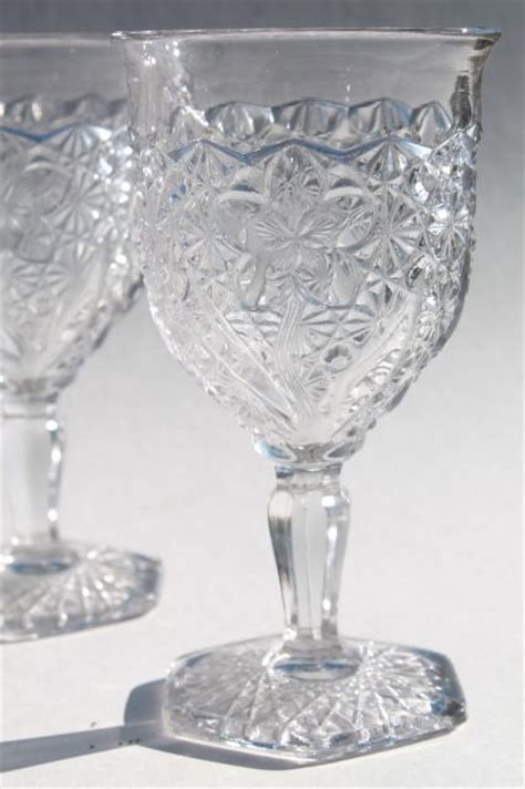 Pressed Glass Goblets Eapg Vintage Pressed Glass Water Goblets Button