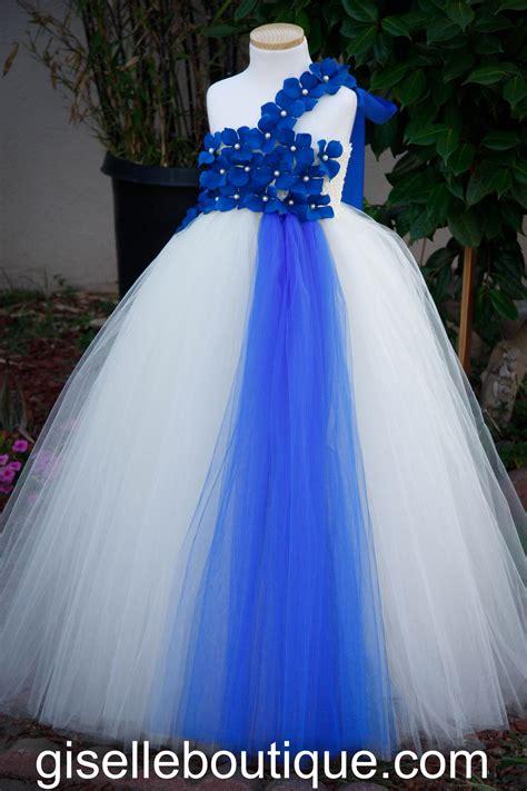Dress Tutu flower dress blue and ivory tutu dress baby tutu dress toddler tutu dress wedding