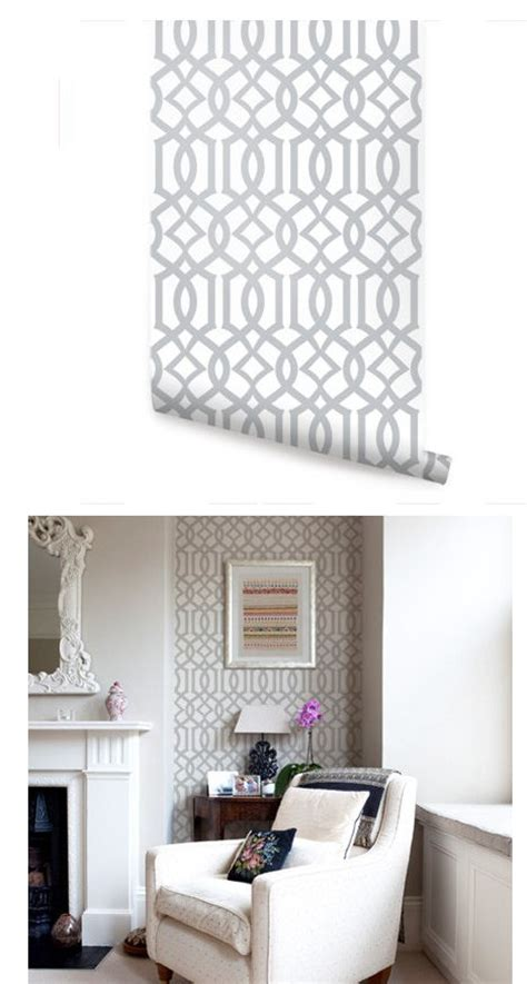 modern trellis gray peel  stick wallpaper