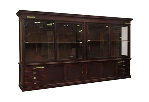 large mahogany display cabinet olde things