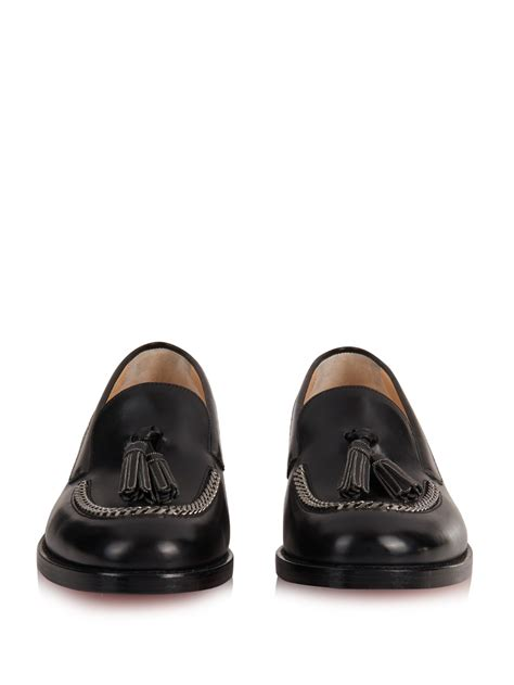 black loafers lyst christian louboutin monaliso tassel leather loafers