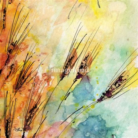 quot rye watercolor and ink modern square painting quot by ginette callaway