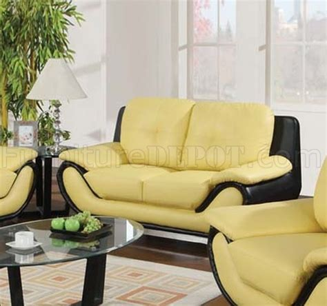 oberon sofa 50760 oberon sofa in yellow black bonded leather by acme