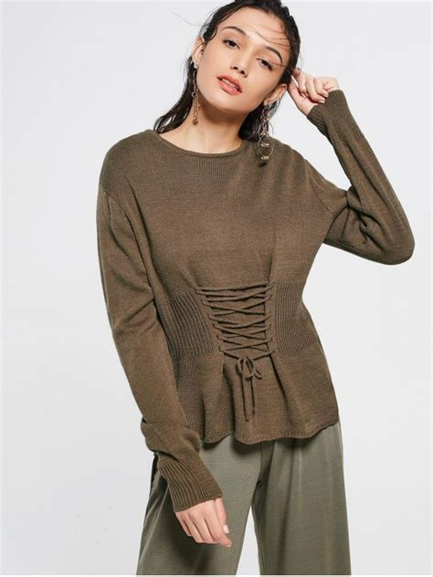 lace up sleeve sweater coffee lace up sleeve sweater coffee sweaters one size zaful