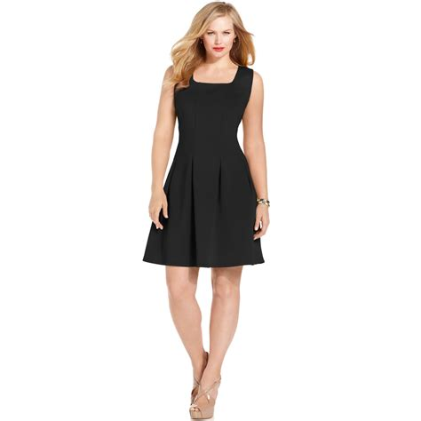 Sleeveless Pleated A Line Dress spense plus size sleeveless pleated a line dress in black