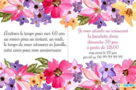 invitation anniversaire 60 ans aquarelle de fleurs 123