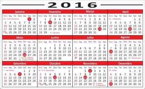 Calendario 2017 Con Feriados Incluidos Feriados 2016 Veja A Lista De Pontos Facultativos E