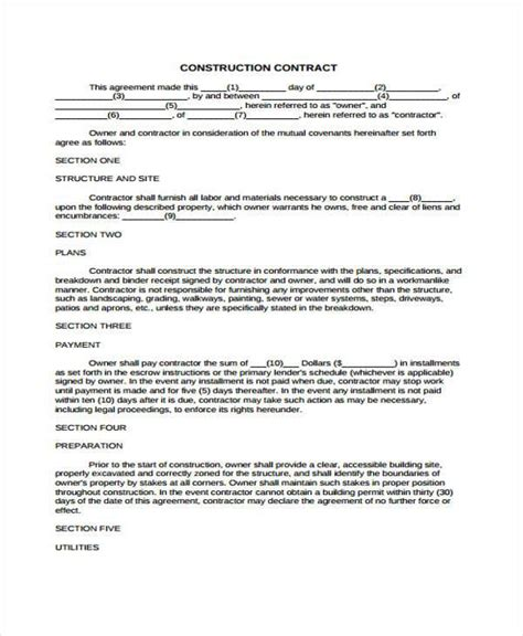 9 construction agreement form sles free sle