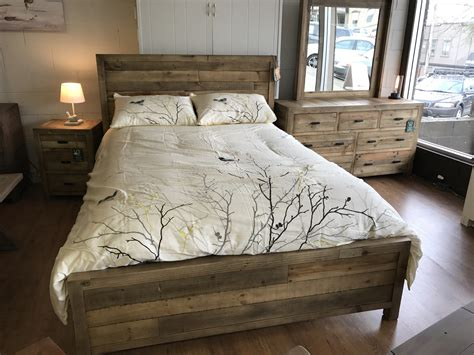beachwood queen bed frame  natural rustic blueberry meadows interiors