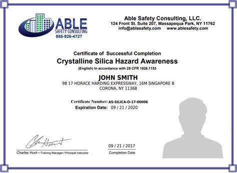 Silica Awareness Training Certified Course Construction Silica Management Course Silica Silica Written Exposure Plan Template