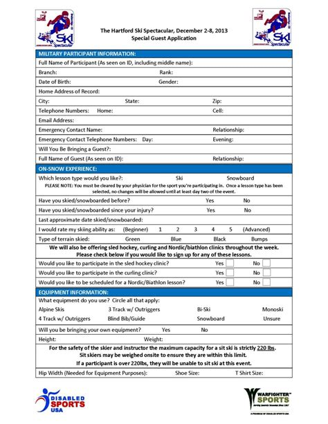 participant registration form template templates adaptive sports for anyone with a disability